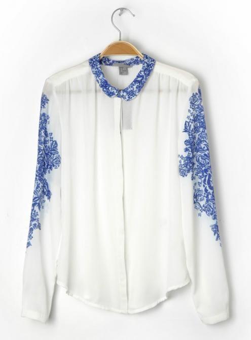 #Udobuy White Printing Lapel Shirt