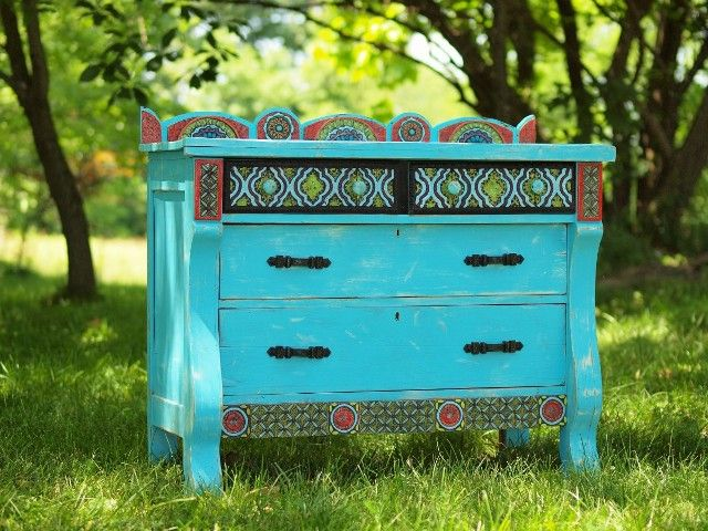 Upcycled Turquoise Dresser with our Clay Tile Mosaic Embellishments and Vintage Hardware