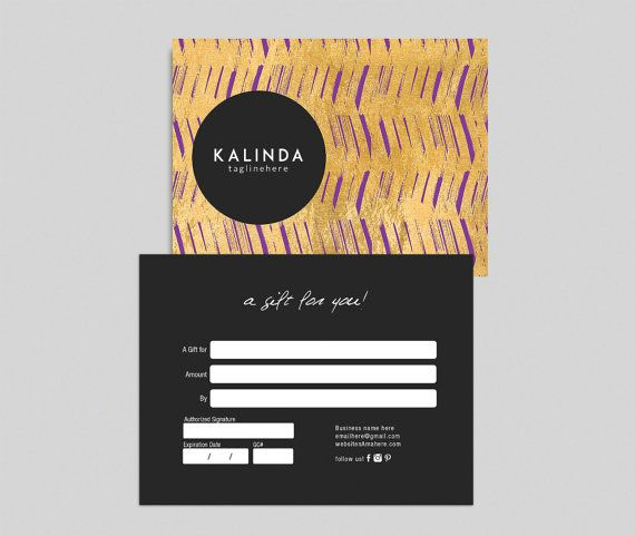 Kalinda Double Sided Gift Certificate Template By Deideigraphic