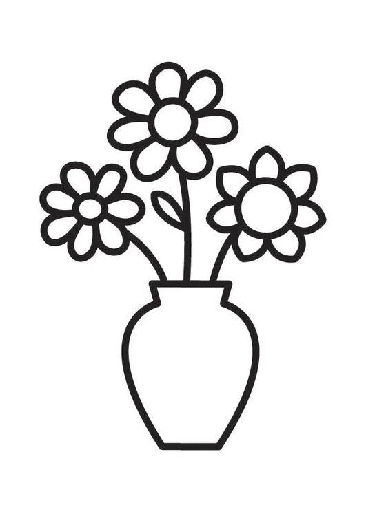 Dibujo para colorear jarrón con flores | Adriana | Coloring pages ...