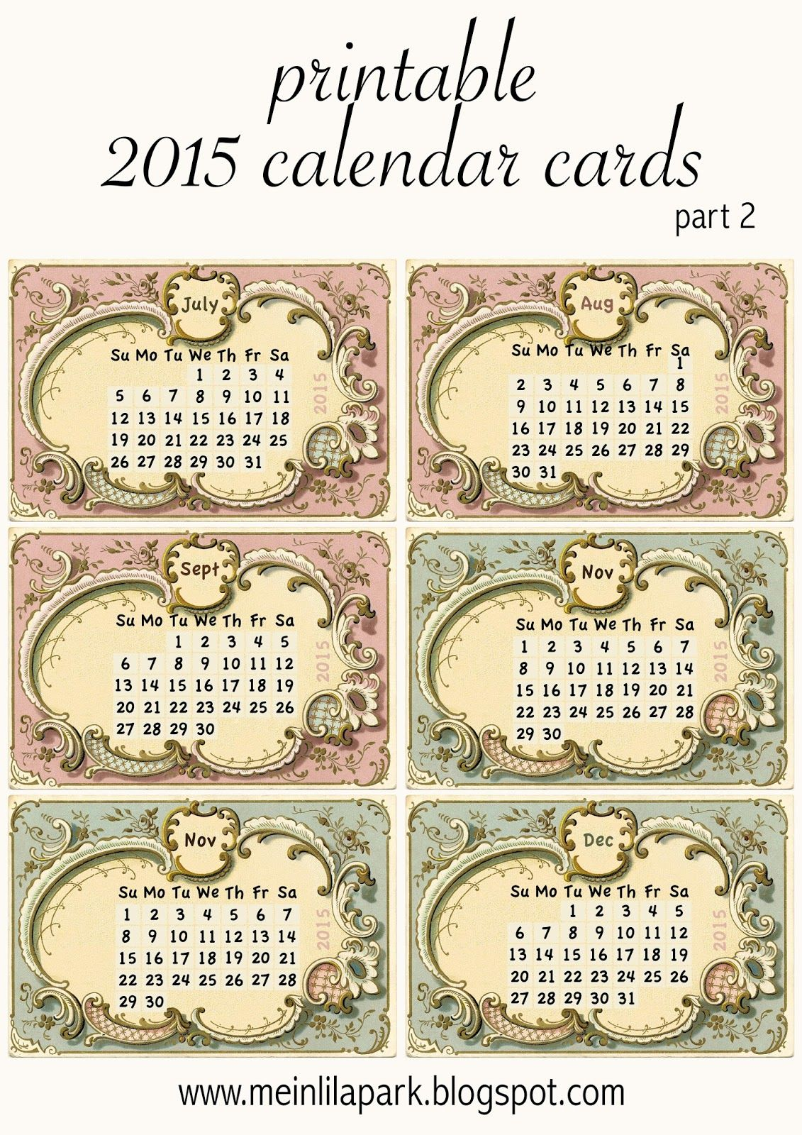 Free Printable Calendar Mini Cards