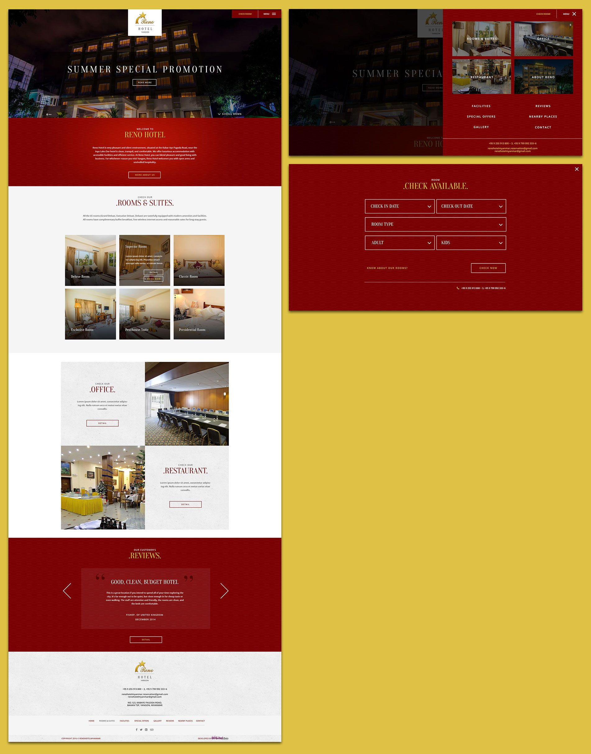 Reno Hotel Myanmar Website Design Proposal Reno Hotel Myanmar