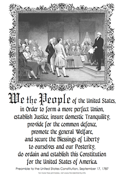 free printable copy of the preamble to the us constitution from. Black Bedroom Furniture Sets. Home Design Ideas