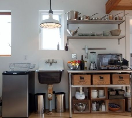 Vintage warehouse shades for tiny industrial kitchen for Small kitchen in garage