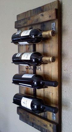 Wall Wine Rack Made From Natural Blue Stained Pine