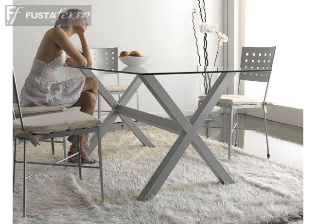 Fusta i ferro mesa de forja mod toronto rectangular - Estructuras para mesas ...
