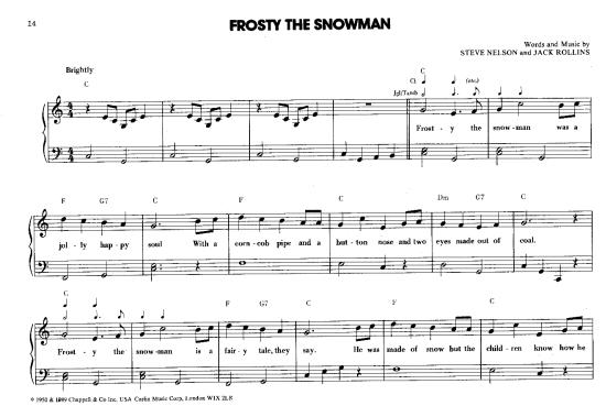 Frosty The Snowman >>> KLICK auf die Noten um Reinzuhören <<<