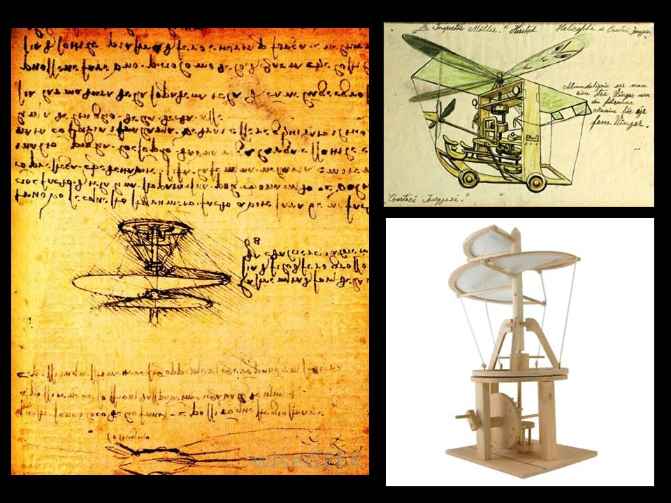 The first sketches and model of an helicopter, by Leonardo