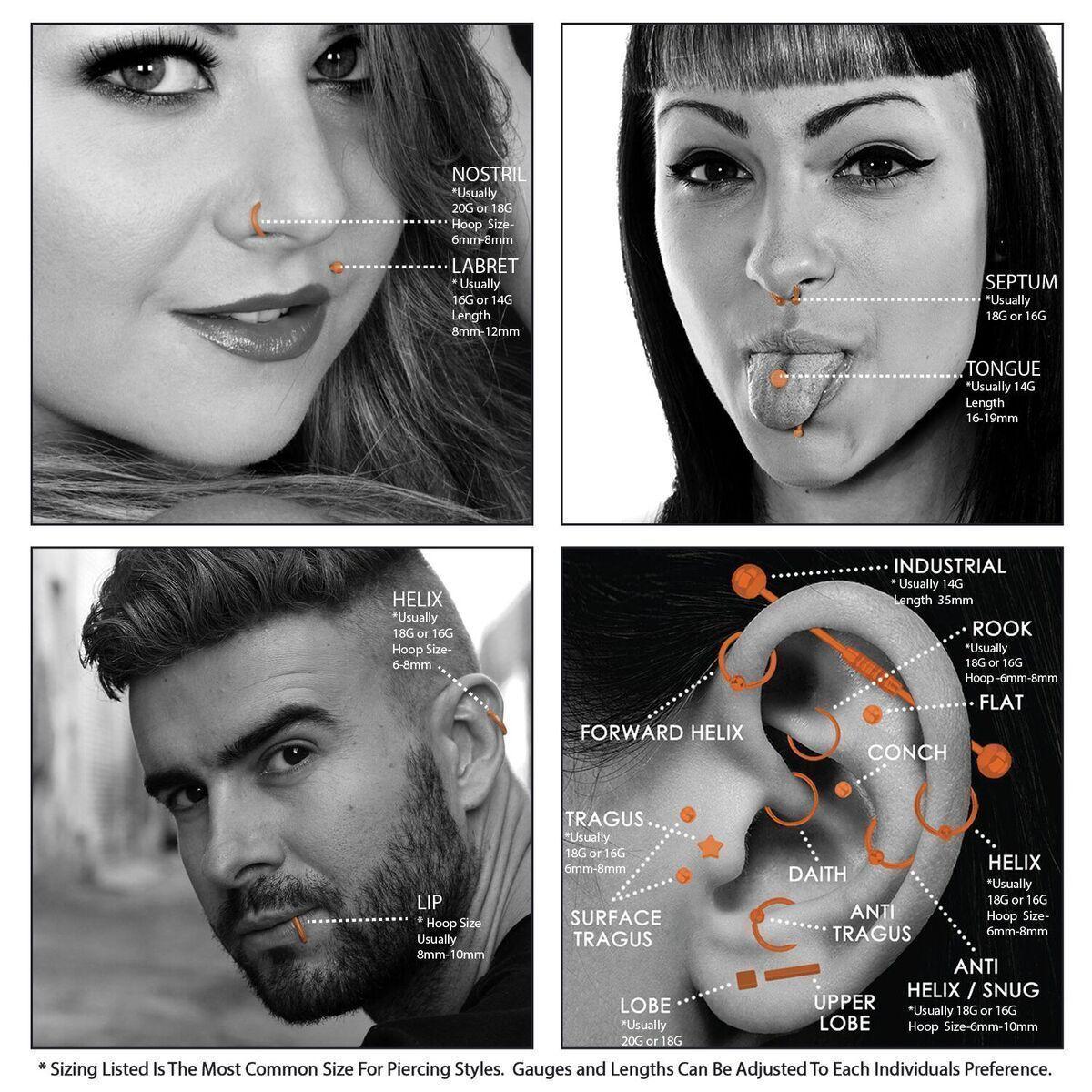 Body Piercing Charts  Ears Jewelry Sizes Gauge Info