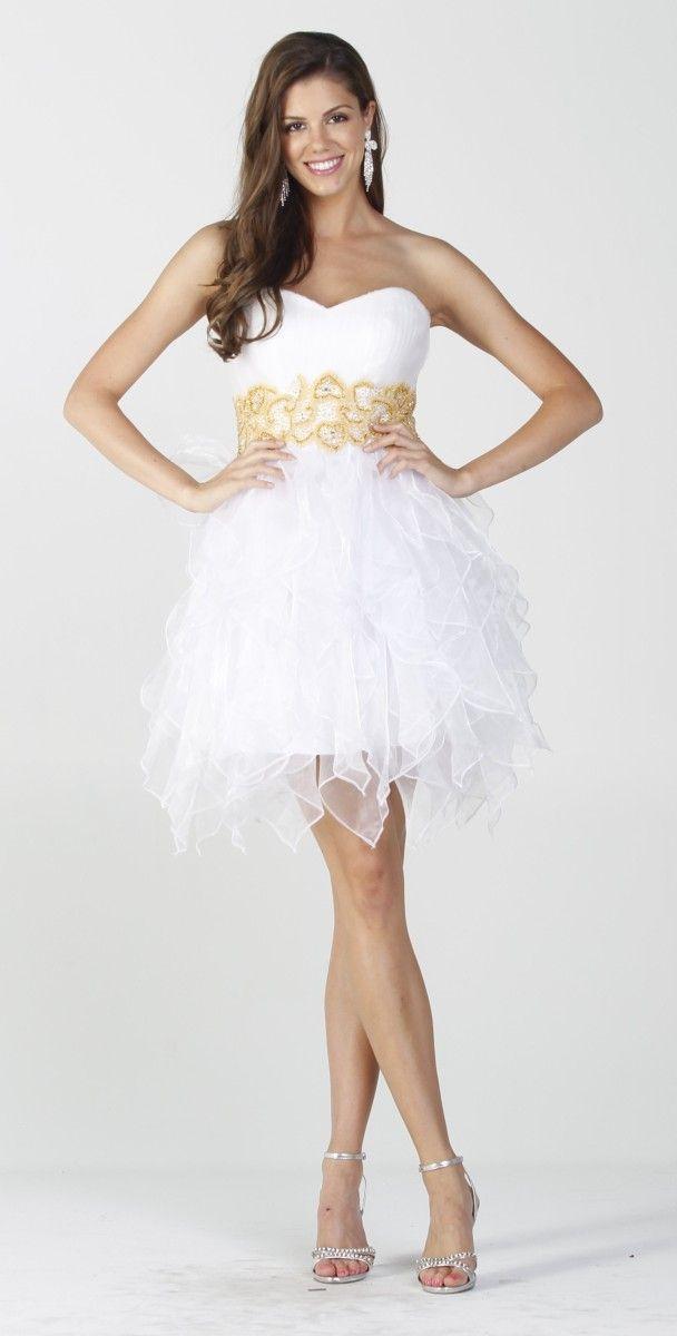 37c77b4c29b White Winter Ball Dress Short Strapless Sweetheart Embroidered $177.99