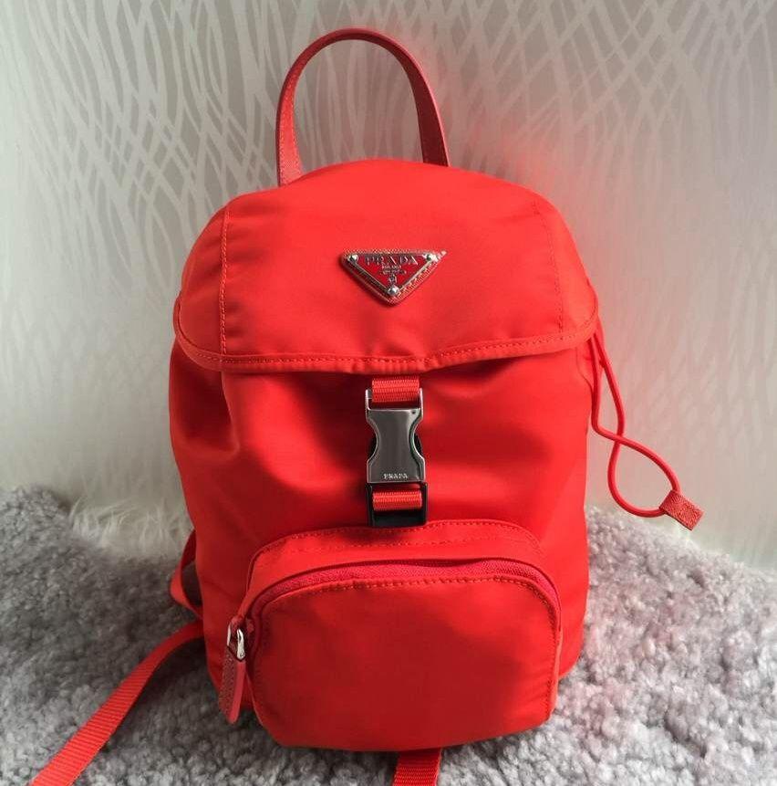a8e800e8c993 Prada BZ0025 Fabric Backpack Red