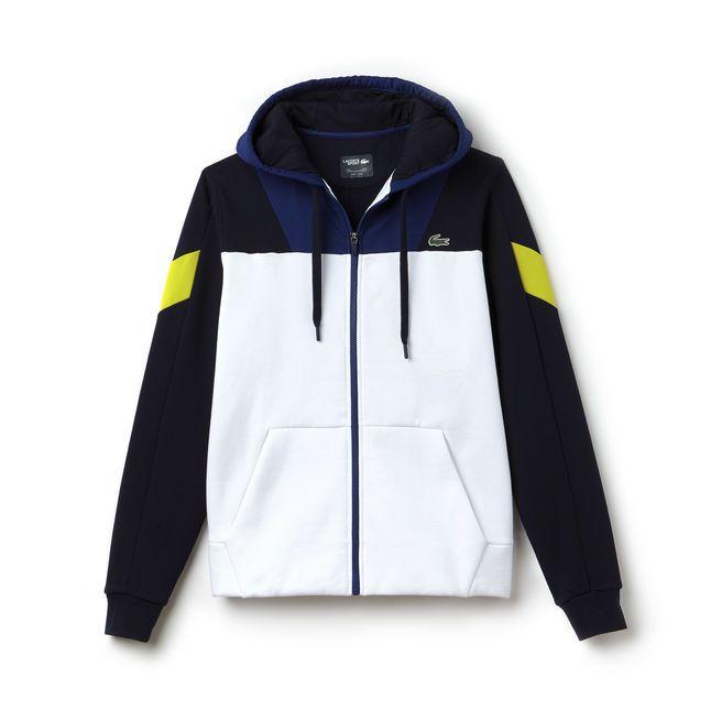 d14f7692bd Sweatshirt zippé Tennis Lacoste SPORT bi-matière color block ...