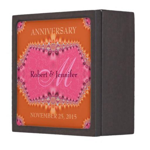 Orange + Pink Damask Wedding Anniversary  Monogram cute gift box with magnetized lid