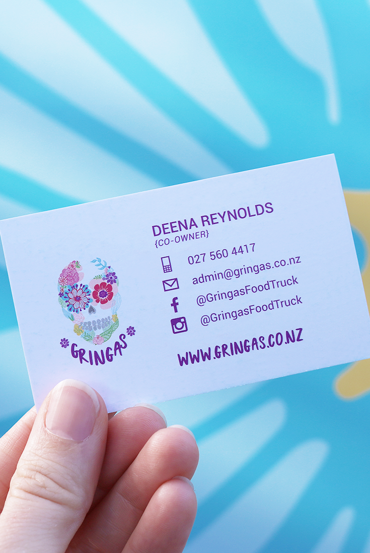 Business Card Designed By Design By Cheyney For Gringas Sharing A Passion For Cooking And Eating Food Business Card Business Card Design Loyalty Card Design