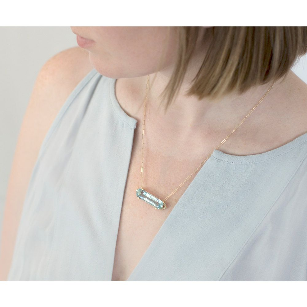 Sale - Aquamarine Bar Necklace in 14k Yellow Gold