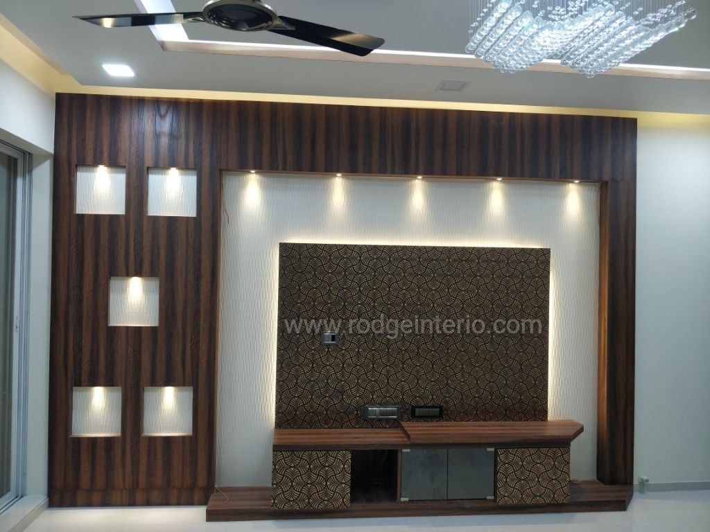 Tv Unit Designed For 2bhk Use Of Charcoal Sheet Paneling Drop