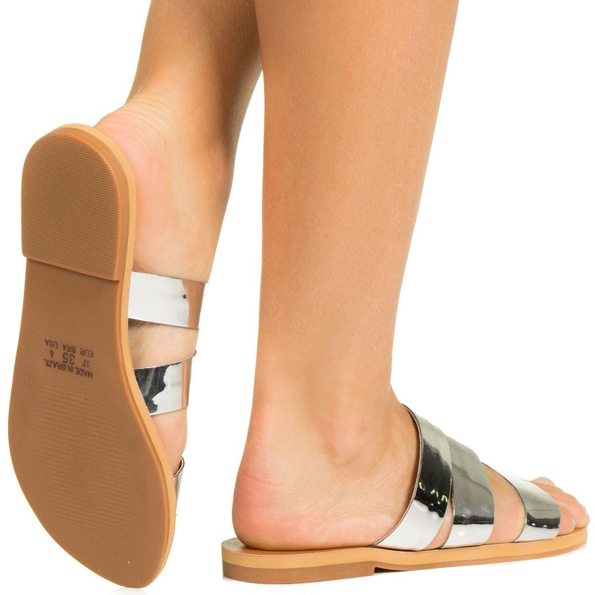 9c1af6b4a Rasteira com Tiras Prata Taquilla - Taquilla - Loja online de sapatos  femininos