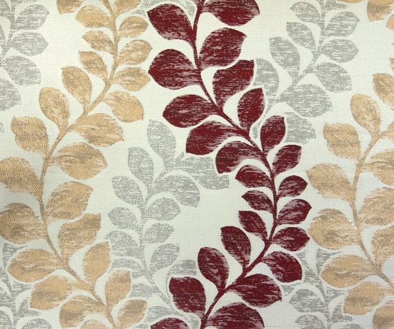 Beige Maroon Leaves Il Fabric By The Yard Curtain By Fabricmart
