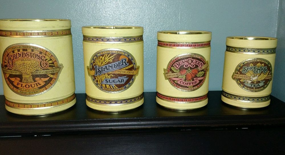 Lincolnware By Ballonoff Vintage Tin Canisters Set Of 4 Grindstone Flour Etc In Collectibles Kitchen Home Kitchenware