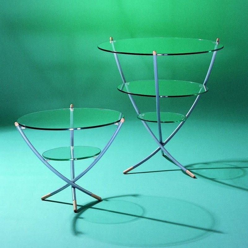 Tavolino soggiorno Trino in acciaio e vetro a 3 ripiani ...
