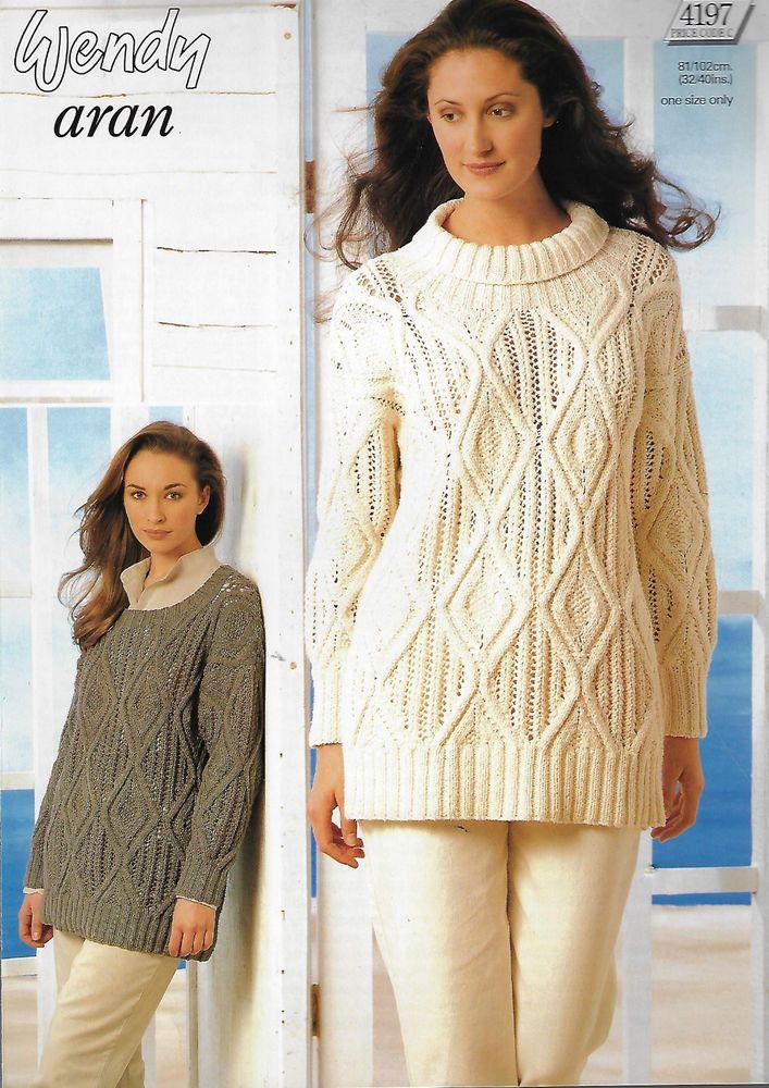 Womens Diamond Lace Sweater Wendy 4197 Knitting Pattern Aran