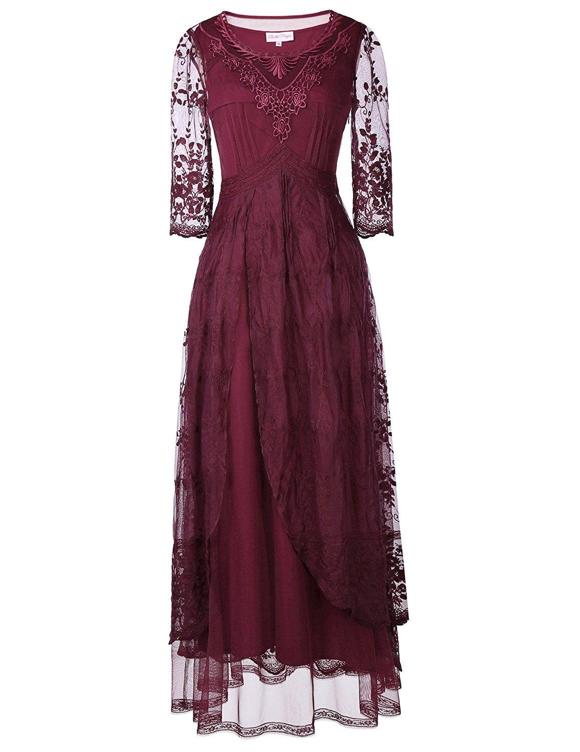 Belle Poque Steampunk Gothic Victorian Lace Maxi Dress 3/4 Sleeve ...