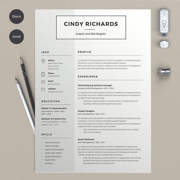 Resume Cindy (2 pages) by sz81 on @creativemarket Ready for Print - print resume
