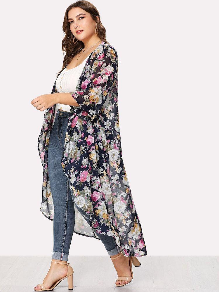 Cardigan Con Estampado Floral De Talla Grande Kimono Floral Moda Para Mujer Tamano Extra