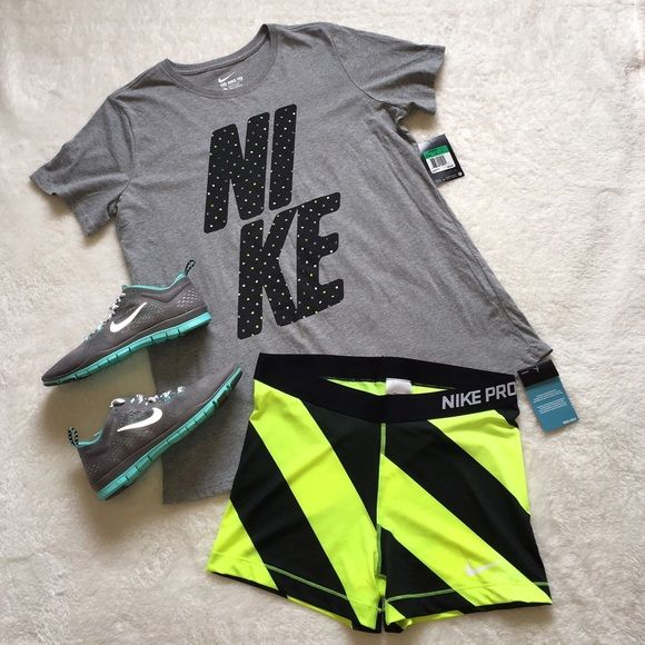 NWT Nike Women's Grey Neon White Polkadot Shirt XL new with tags! never worn! perfect condition! name brand: Nike. size: XL. price tag: $25. Women's. colors: Grey, Neon Yellow, & White. design: polkadots on NI KE print on front. This Nike Tee is perfect for spring & summer workouts! Nike Tops Tees - Short Sleeve