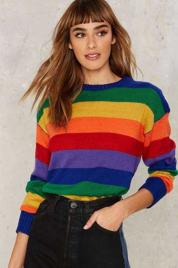 8d9052f07c4b0 Rainbow Sweater | Want It. Need It. in 2019 | Rainbow outfit ...