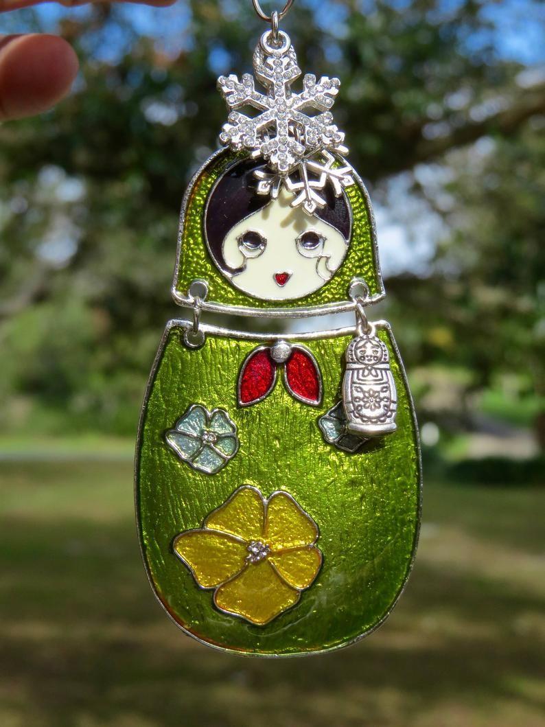 Lt Green MATRYOSHKA DOLL Ornament Tree Jewelry Christmas