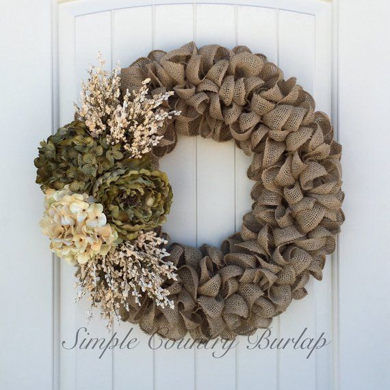 Photo of Rustic Handmade Burlap Wreaths for all seasons! by SimpleCountryBurlap