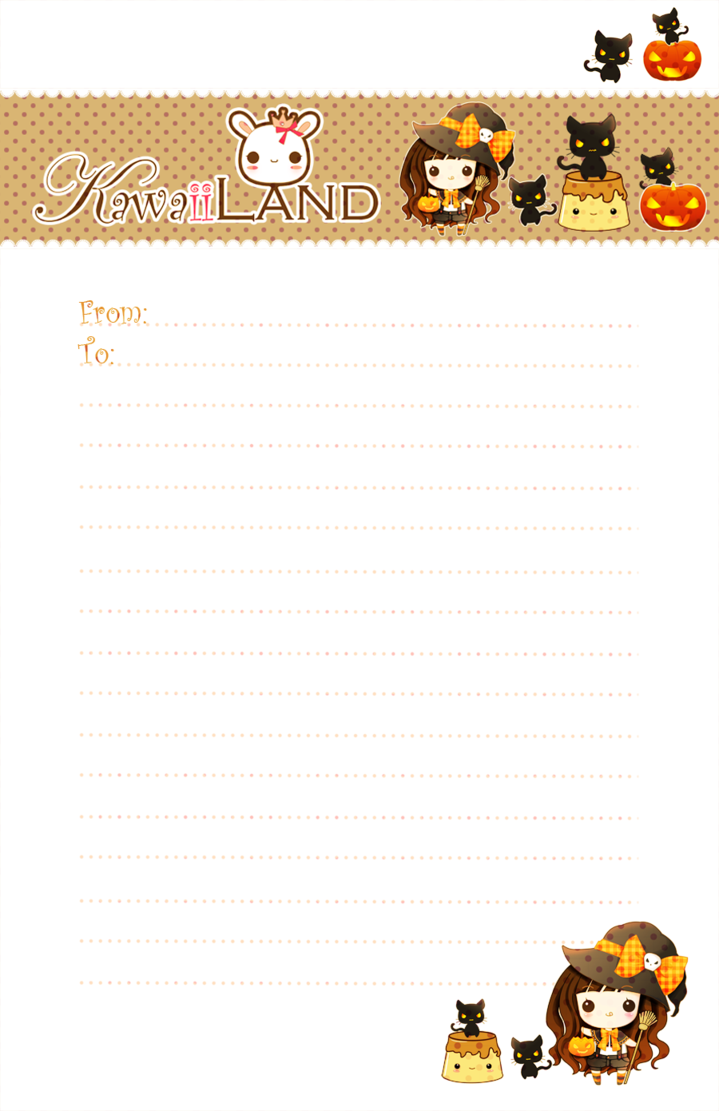 kawaii letter paper for your halloween ^^ ^^ standard size   kawaii letter paper for your halloween ^^ ^^ standard size for printing