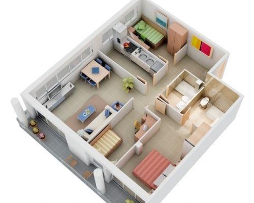 Foto Rumah Dengan 3 Kamar Tidur Dan 2 Kamar Mandi Referensi Rumah Desain Rumah Kecil Denah Lantai Rumah Denah Rumah