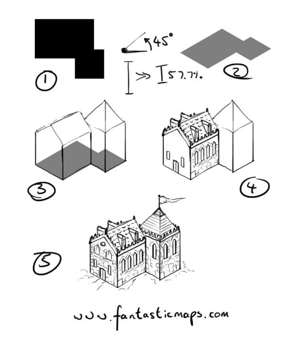 How To Draw An Isometric House Doodle Maps Pinterest Drawings