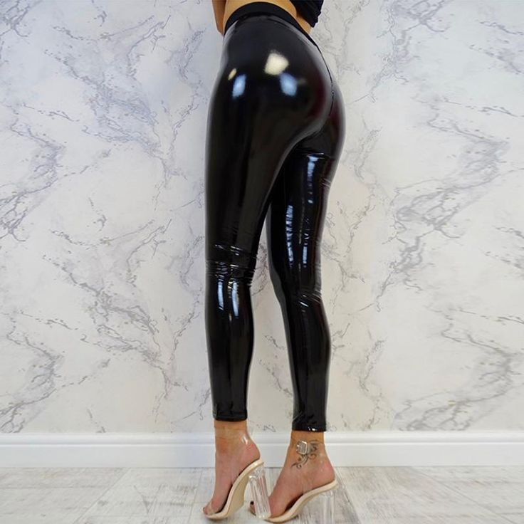 e396215437477 Womens Black Pants Slim Soft Stretchy Shiny Wet Look Faux Leather Ladies High  Waist Pencil Sexy Trousers