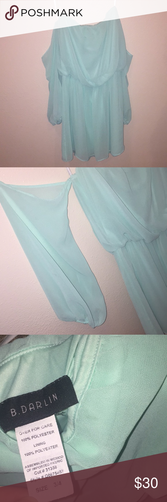 613a7f2b6d73 MINT GREEN OFF SHOULDER SLEEVE DRESS Mint green off shoulder long sleeve  dress. Flowy polyester material. Elastic intake at waist   wrists.