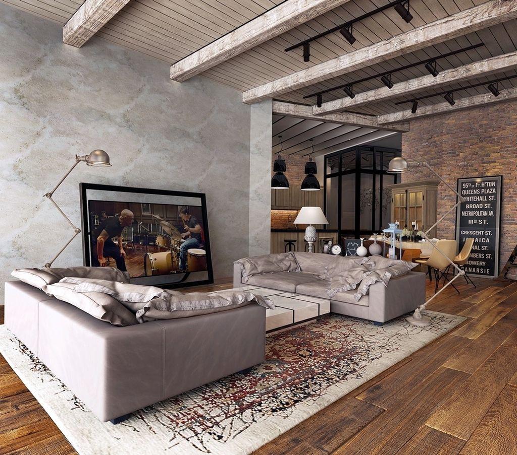 Exposed Ceiling Beams Rustic Industrial Living Room Rustic