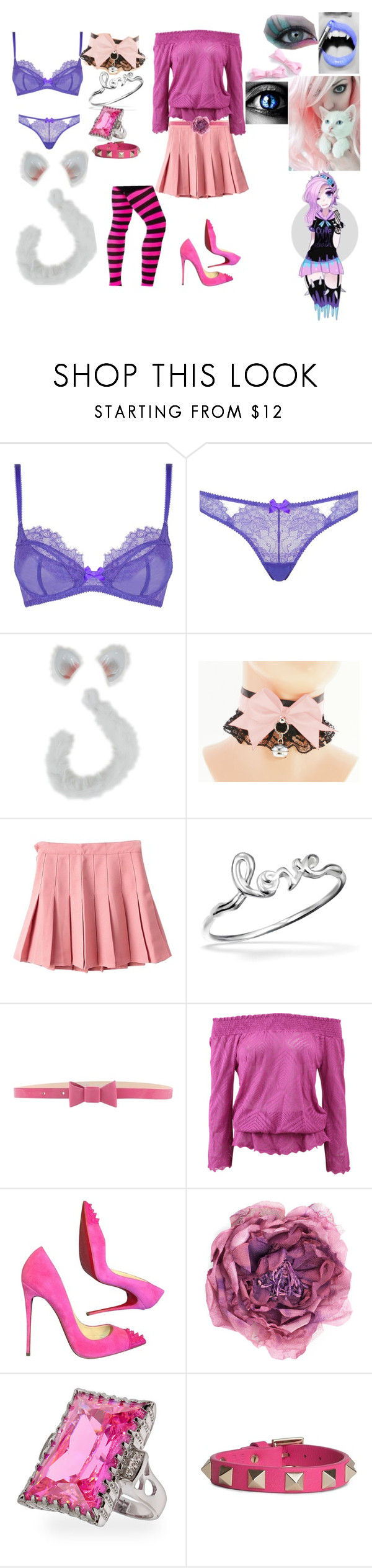 """""""Rebecca Araki // The Neko"""" by the-happy-emo ❤ liked on Polyvore featuring L'Agent By Agent Provocateur, Gosh, Blugirl Folies, Cecilia Pradomurion, Christian Louboutin, Gucci and Valentino"""