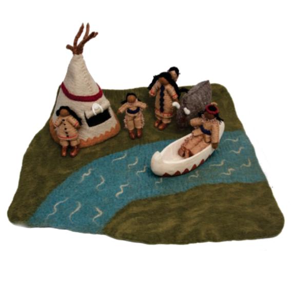 Papoose Native American Village Set Felt Play Mat