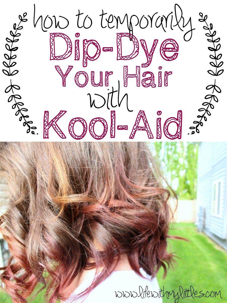 How To Dip Dye Your Hair With Kool Aid Kool Aid Hair Dye Kool Aid Hair Kids Hair Color