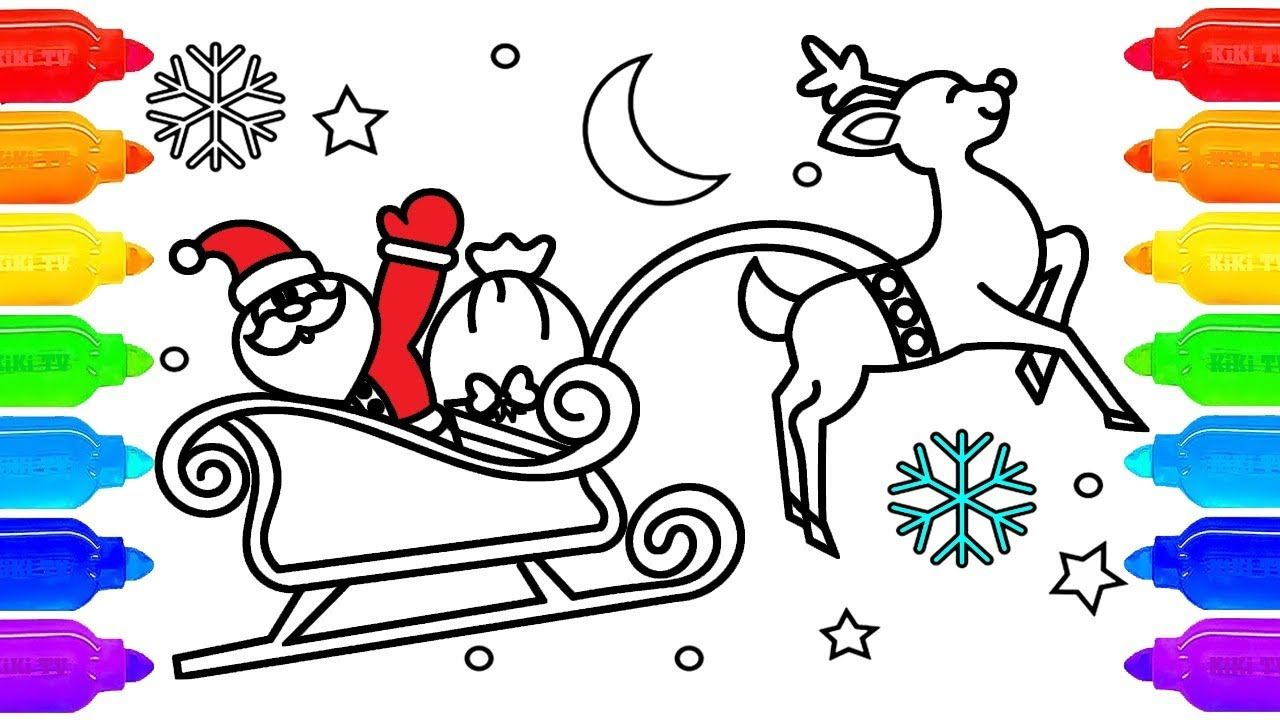 Santa Claus Sleigh Coloring Page | How To Draw Cartoon Santa Claus ...