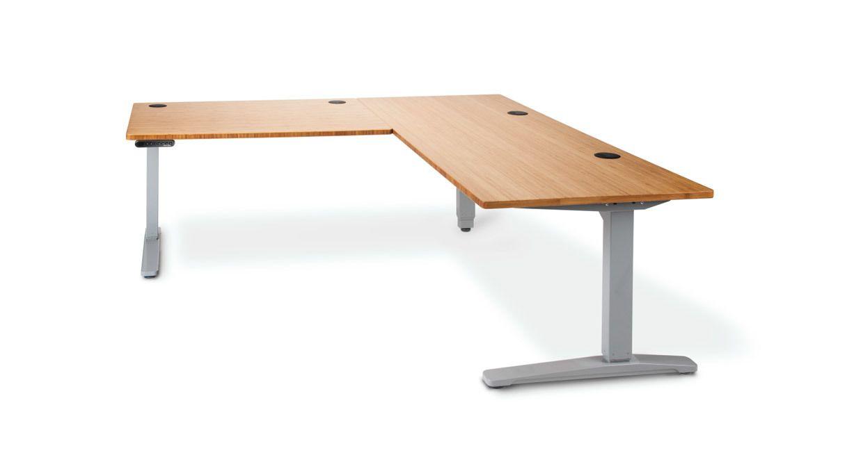 The Uplift Height Adjustable Standing Desk With L Shaped Bamboo Top Adjustable Standing Desk Adjustable Height Standing Desk Desk