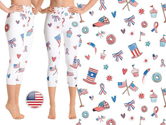 b6404e9a3875d9 #American #Flag #Yoga #Leggings #Stars #USA #Independence #Day #Patriotic  #Capri #4thJuly #Workout #Running #fitness #Gym #Gear American Flag USA  Leggings ...