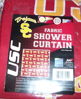 "Northwest USC Trojans Officially Licensed Fabric Shower Curtain 72 x 72"" NIP $29.99"