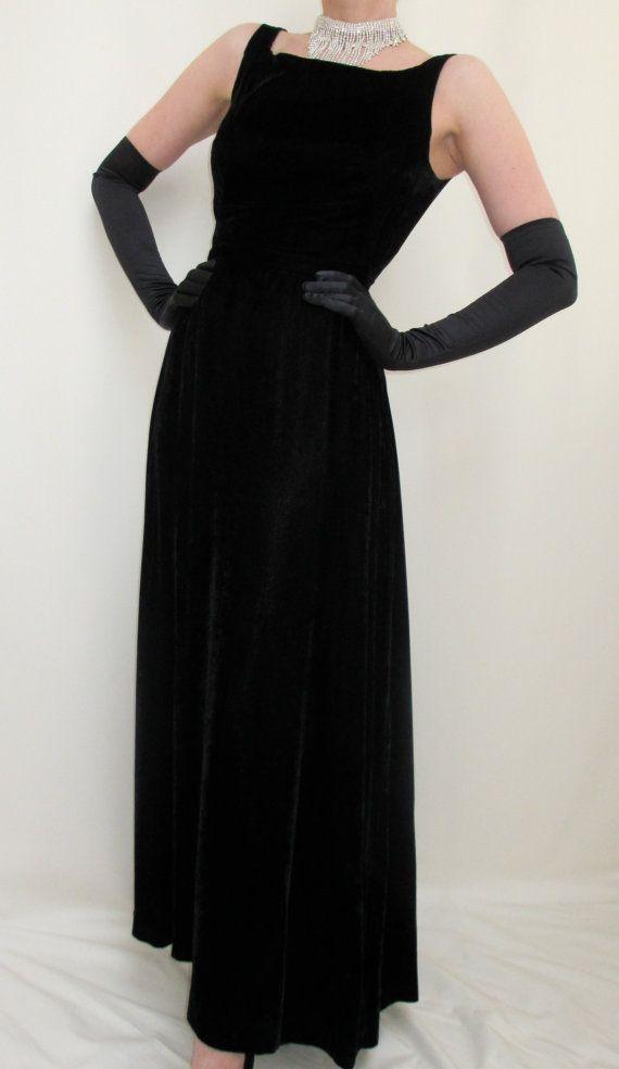 Breakfast At Tiffanys Audrey Hepburn Style Long Black Velvet Dress