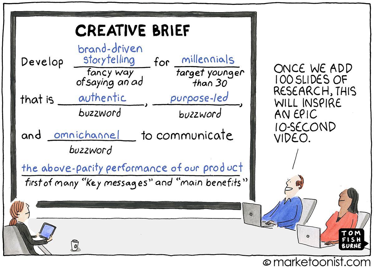 Creative Briefs and Talking like a Human cartoon | Marketing humor ...