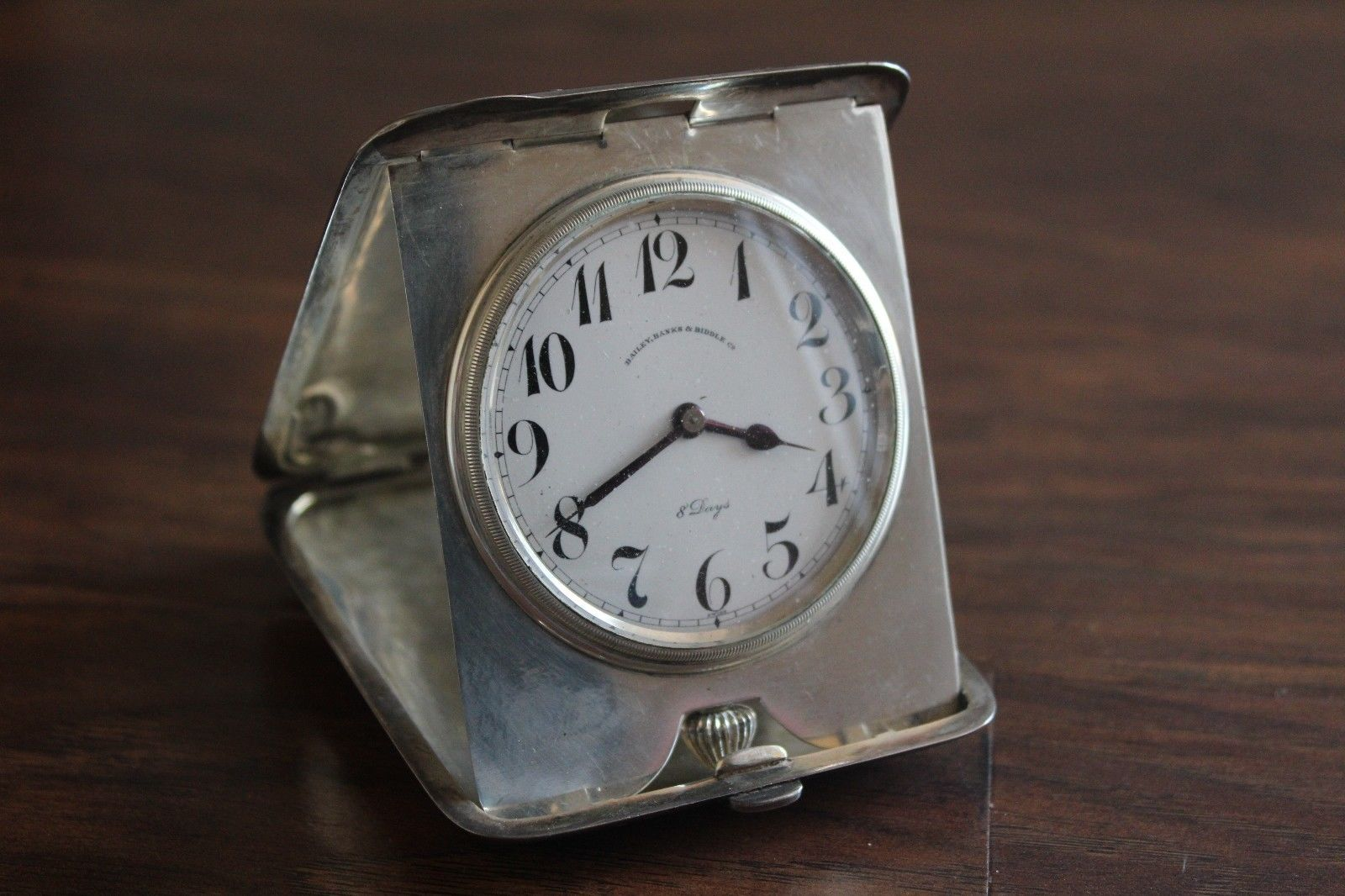 Antique Sterling Silver Travel 8 Day Bailey Banks Biddle Clock 273 2 Grams Antiques Silver Sterling Silver