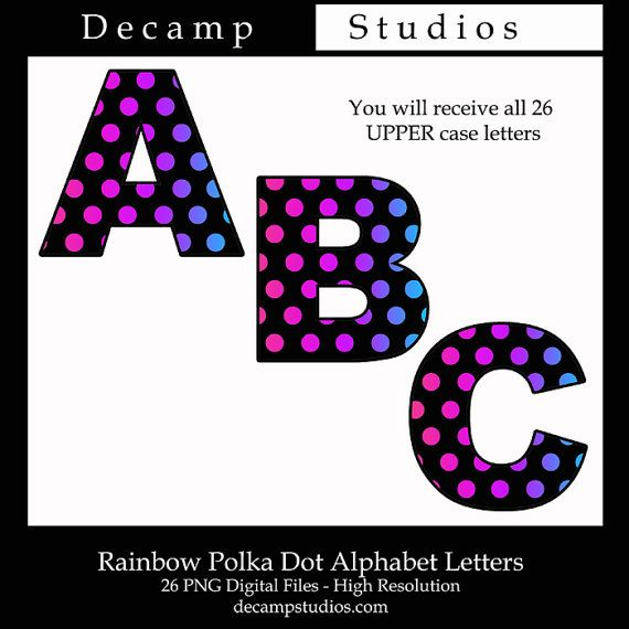 Rainbow Polka Dot Alphabet Letters Printable Clip Art Digital