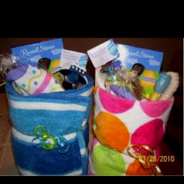 15 creative easter basket ideas for kids and teens easter towel easter basket this is a cute idea for older kids especially negle Image collections